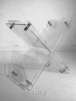 1970 Table Basse Sculpture Moderniste Bauhaus Shabby-chic Lucite Plexiglas