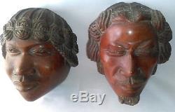 2 SCULPTURES EN NOYER TAILLE DIRECTE COUPLE ANTAISAKA MADAGASCAR vers 1920