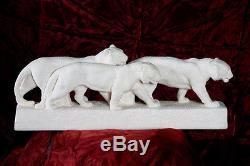 3 Tigres Faience Coquille d'oeufs, de 1925, signé ODYV n°133 Art Déco, 53 cm