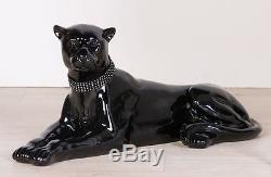59455 Panthère allongée de Poly noir brillant avec diamant-halsband Longueur