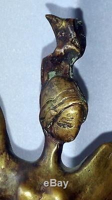 ANCIENNE SCULPTURE ART DÉCO en BRONZE DANCE signature à identifier