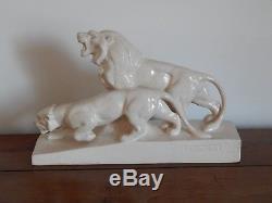 ANCIENNE SCULPTURE Art Déco Céramique Craquelée LION LIONNE Signé L FRANCOIS