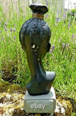 ANCIENNE SCULPTURE EN PLTRE BUSTE DE JEUNE FILLE AFRICAINE de M. DRESSE ART-DÉCO