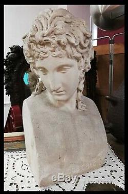 ANCIENNE STATUE SCULPTURE BUSTE DIVINITÉ AMOUR GRECQUE deco ROME ANTIQUE XIXeme