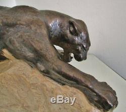 ANCIENNE STATUE sculpture ANIMALIÈRE PANTHÈRE FAÏENCE ART DÉCO style Dalpayrat