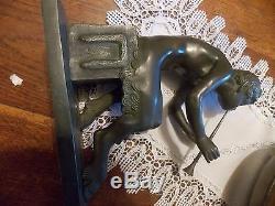 ART DECO J. D. Guirande. 1930 Bronze MAGNIFIQUE SCULPTURE. DANSEUSE ET FAUNE