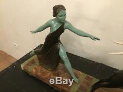 ART DECO SCULPTURE statue par CAMPBELL(la femme et lantilope) dlg MENNEVILLE