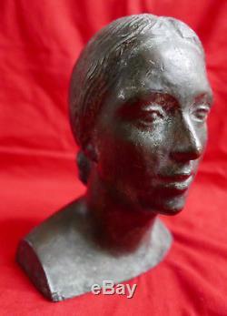 Albert BOUQUILLON Douai sculpture bronze portrait jeune femme statue Art Déco