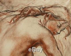 Alfred Auguste JANNIOT dessin femme nue sculpture nu sanguine Art Déco tableau
