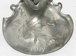 Ancien Vide Poche En Etain Avec Sculpture Femme Art Nouveau Signee Edles Zinn