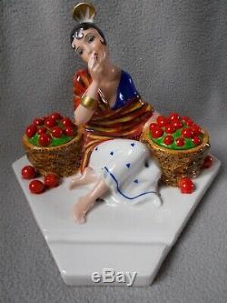 Ancien encrier femme art deco A. GODARD Etling sculpture en porcelaine statuette