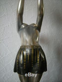 Ancien lampe art deco BALLESTE sculpture femme vintage statue lamp dancer woman
