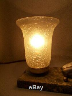 Ancien lampe veilleuse art deco 1930 1950 sculpture femme nue pin-up globe vase