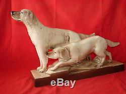 Ancienne Sculpture Ceramique Art Deco Chien Setter / St Radegonde Lefrancois
