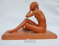 Ancienne Sculpture En Terre Cuite Jeune Femme Nue Art Déco Miroir René Rod 1920