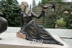 Ancienne Sculpture Regule Femme Oiseaux Marbre Art Deco
