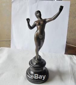 Ancienne Sculpture Statue Bronze Par Franz Iffland 1862/1935 Une Femme Art Déco