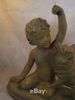 Ancienne Sculpture Terre Cuite Art Deco Enfant Chien B Rezl Antique Children Dog
