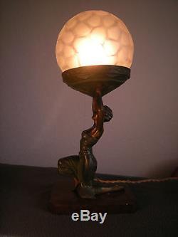 Ancienne lampe art deco sculpture femme PARIS vintage statue lamp dancer woman