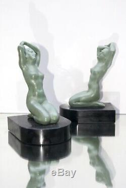 Ancienne paire de serre-livres sculpture Art déco 1930