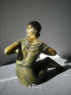 Ancienne Sculpture Art Deco D  H Chiparus Statuette Femme
