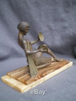 Ancienne sculpture art deco femme danseuse nue antique statue woman nude figural