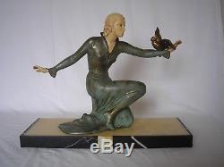 Ancienne sculpture art deco statue femme & oiseau 1930 woman figural with bird