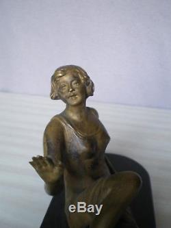 Ancienne sculpture en bronze art deco 1930 statue femme antique woman figurine