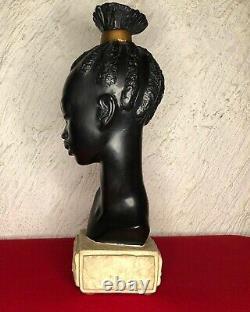 Ancienne sculpture en plâtre buste de jeune fille africaine de M. DRESSE ART-DÉCO