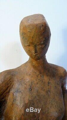 Ancienne sculpture épreuve terre cuite Art Deco Femme au repos