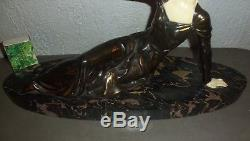 Ancienne statue sculpture ART DECO femme à la mouette signée LIMOUSIN 1930