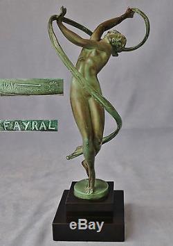 Art Déco TOURBILLON Sculpture Signée FAYRAL Cachet & Signature MAX le VERRIER