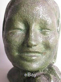 Art Déco'Antique Statue Ans'30 Buste Fille Sculpture Femme en Terre Cuite