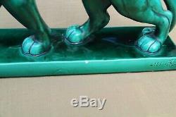 Art Deco Ceramic green Panther Sculpture After Charles Lemanceau L 44.5 cm, H 29