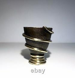 Art-déco Vase Brutaliste Sculpture Serpent Bronze Doré Patiné Écart Avant-scène
