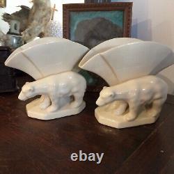 Art deco, paire sculpture Vase En Céramique Craquelée Estampillée L/V Ceram