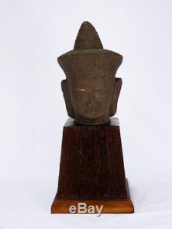 Asie Partie De Sculpture En Pierre Grès Sur Son Socle Original D'epoque Art Deco