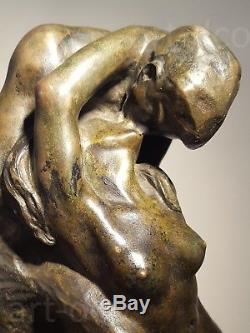 BRONZE SCULPTURE THE KISS / LE BAISER 1930 Emmanuel CAVACOS (1885-1976)