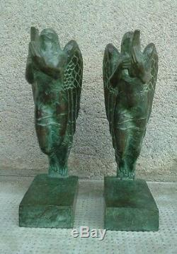 BRONZE serre-livres BOULAY-HUE cire perdue VALSUANI sculpture MUSE bookends