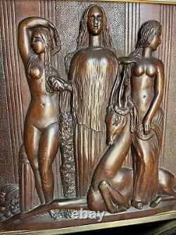 Bas Relief Art Deco Style Expo Coloniale Splendide Bois Sculpté Encadré
