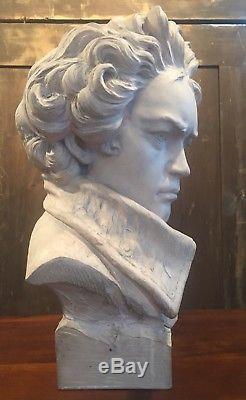 Beethoven Buste Sculpture En Terre Cuite Art Deco Signe Lorenzi