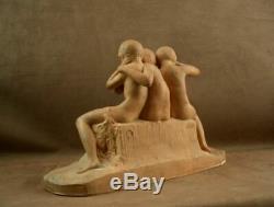 Belle Sculpture En Terre Cuite Art Deco La Sagesse Par Ary Bitter Susse Editeur