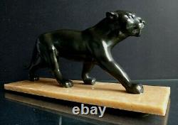 Belle panthere Art déco sculpture old panther marble 1930