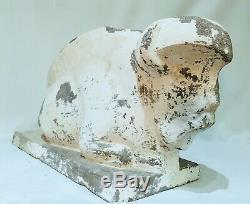 Bison Assis, sculpture Art Deco En Ciment
