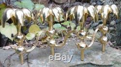 Bougeoir de Table Sculpture Design 1970's Bronze doré Top Qualité