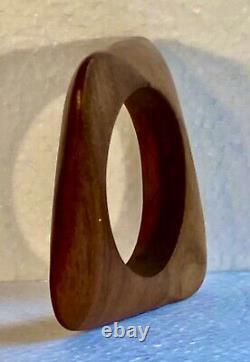Bracelet Catherine Noll Sculpture Abstrait Art Déco bois précieux RARE