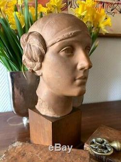 Buste terre cuite Auguste Carli Jeune fille au bandeau ART DECO