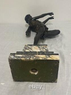 Carlier Grande Statue Sculpture Danseuse Ballerine Epoque Art Déco Patine Bronze