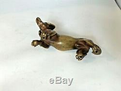 Chien Teckel en Bronze Doré belle patine XXe Art Déco