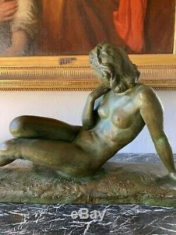Cipriani Ugo (1887-1960) Femme Allanguie Grand sculpture d'époque Art Déco